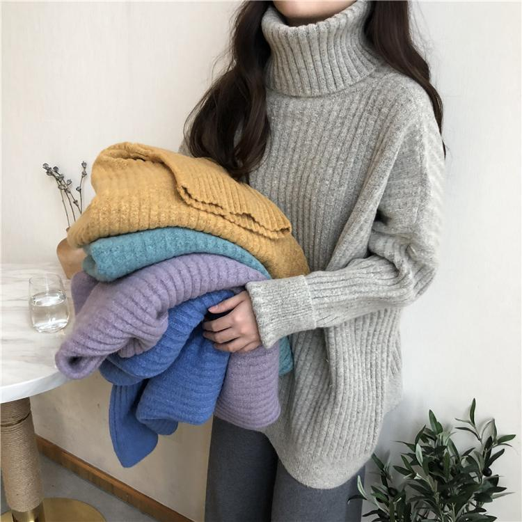 SOLID COLORS RIBBED HIGH NECK COZY SWEATER