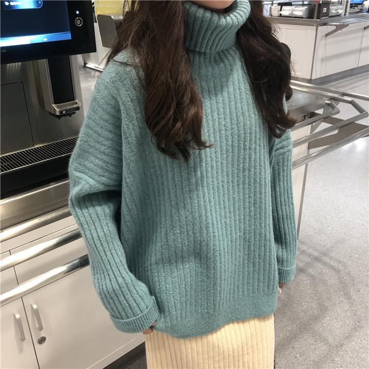 itGirl Shop SOLID COLORS RIBBED HIGH NECK COZY SWEATER