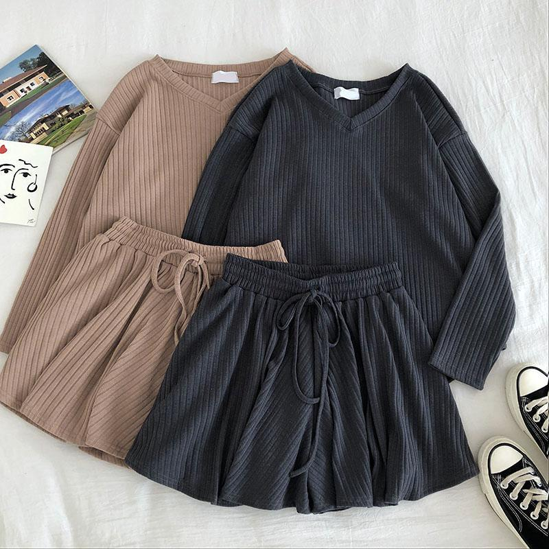 itGirl Shop SOLID COLORS RIBBED SHIRT + SHORTS COMFY 2 PIECE SET