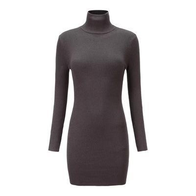 itGirl Shop SOLID COLORS RIBBED TURTLE NECK SLIM DRESS