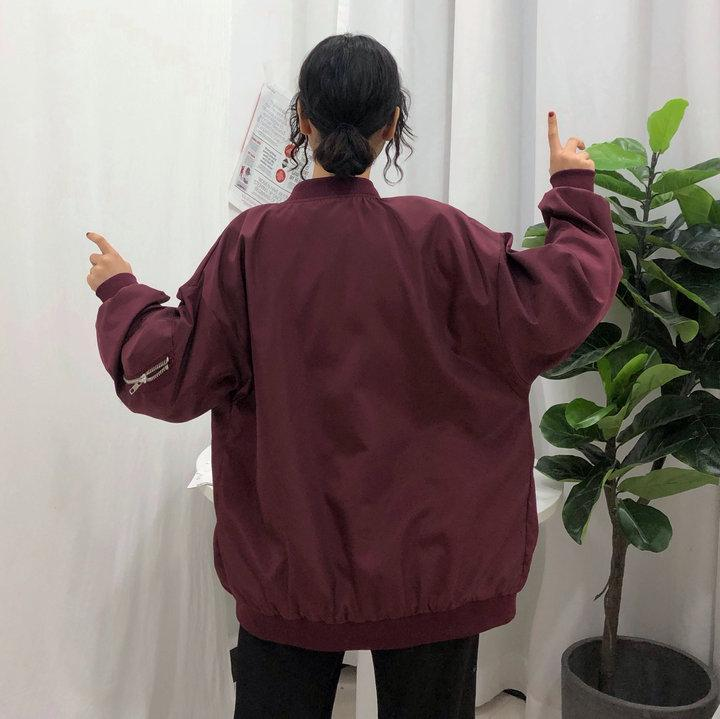itGirl Shop SOLID COLORS SILKY LOOSE CASUAL BOMBER JACKET