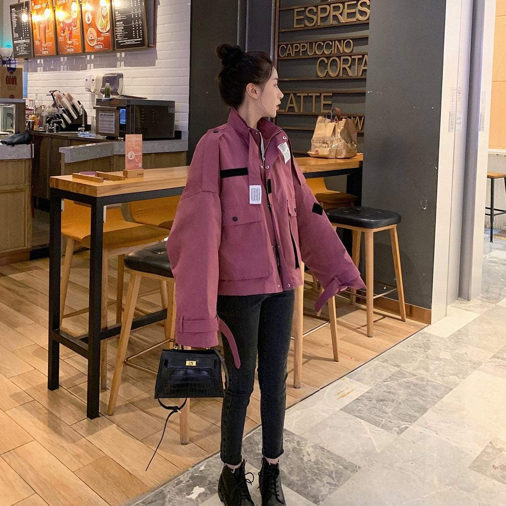itGirl Shop SOLID COLORS ULZZANG AESTHETIC DENIM CANVAS LOOSE JACKET