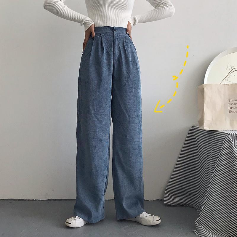 itGirl Shop SOLID COLORS VINTAGE STRAIGHT CORDUROY LOOSE PANTS