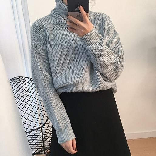 itGirl Shop SOLID COLORS VINTAGE TURTLE NECK LOOSE KNIT SWEATER