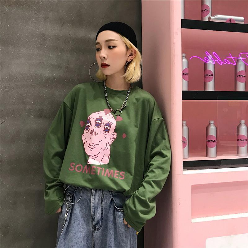 itGirl Shop SOMETIMES RAD PRINT LONG SLEEVED GREEN WHITE SHIRT