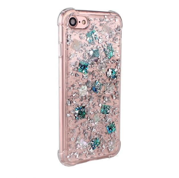 itGirl Shop SPARKLE SILVER EMERALD TRANSPARENT FLAKES COVER CASE