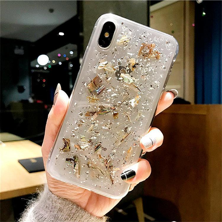 itGirl Shop SPARKLE SILVER GOLD FLAKES SILICONE TRANSPARENT IPHONE COVER CASE
