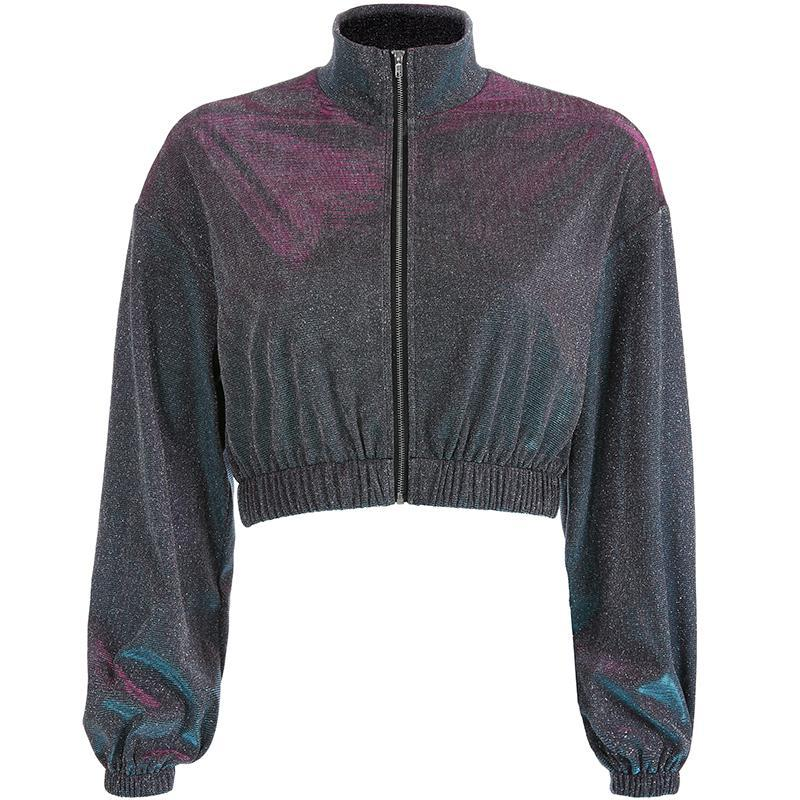 itGirl Shop SPARKLY CROPPED RETRO LONG SLEEVED JACKET