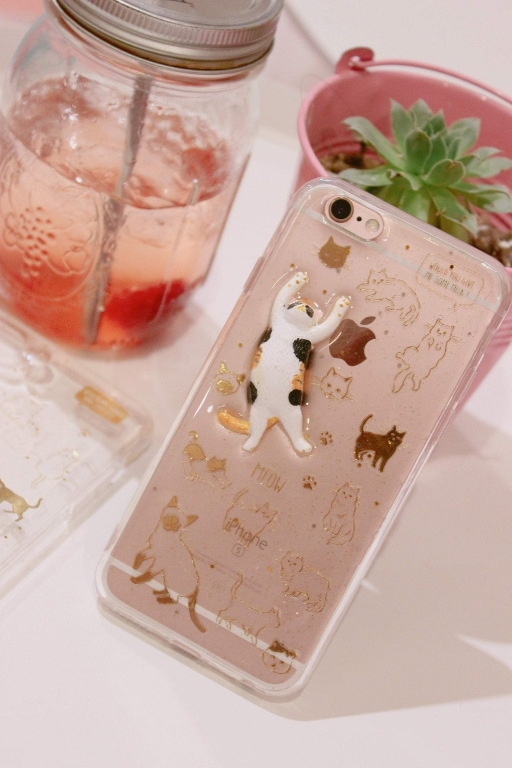 itGirl Shop SPARKLY TRANSPARENT CUTE CATS IPHONE COVER CASE