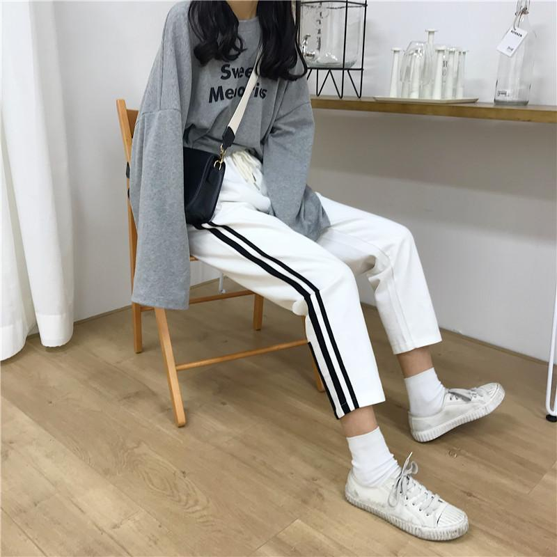 itGirl Shop SPORT SIDE LINES COTTON UNISEX OVERSIZED PANTS