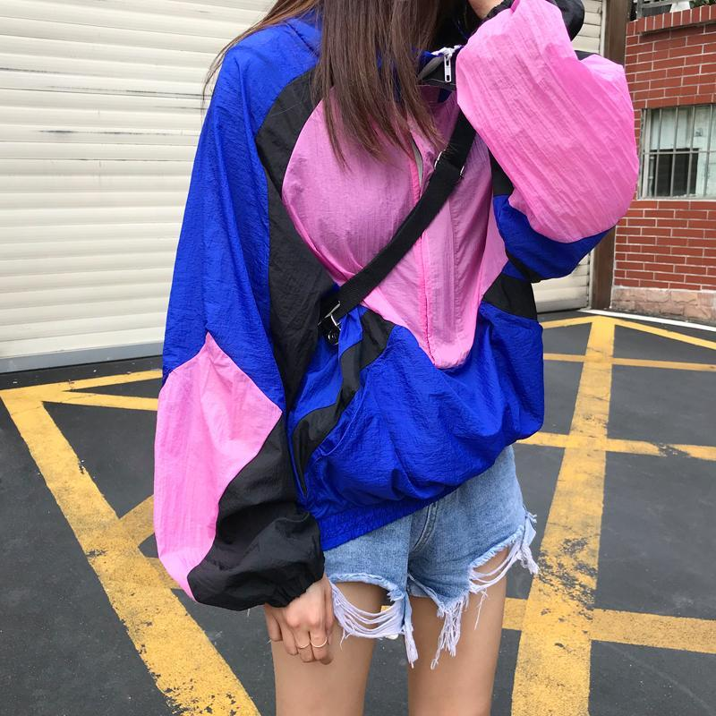 SPORT STYLE BRIGHT PATCHWORK AESTHETIC WINDBREAKER JACKET