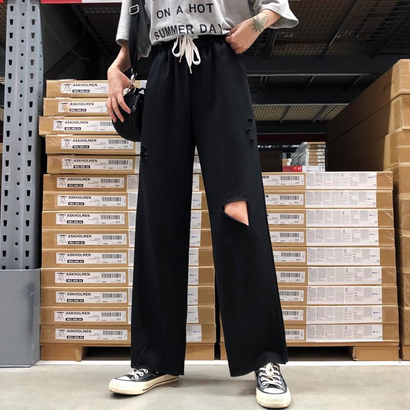 itGirl Shop SPORTY GRAY BLACK WHITE RIPPED KNEE HOLES PANTS