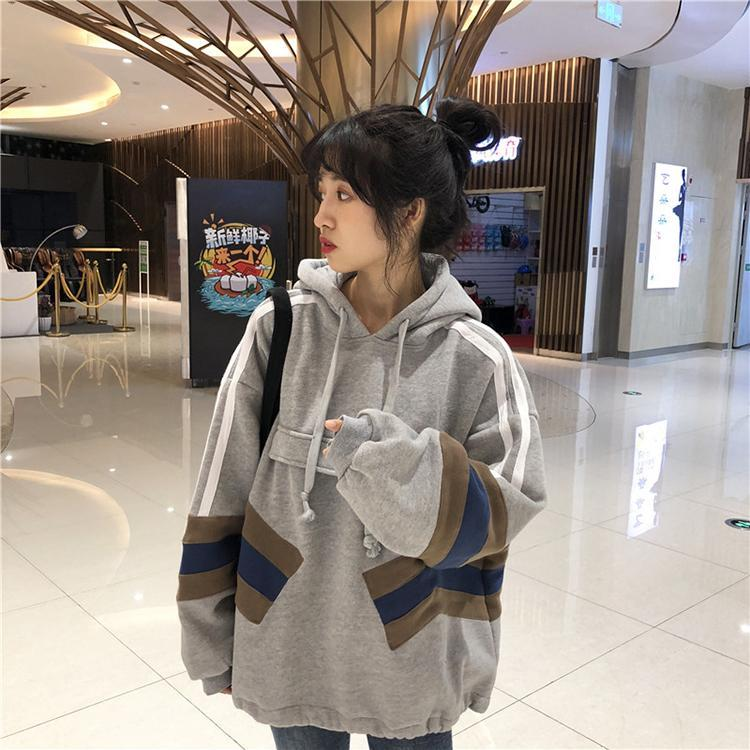 itGirl Shop SPORTY LINES GRAY BLACK OVERSIZE HOODIE