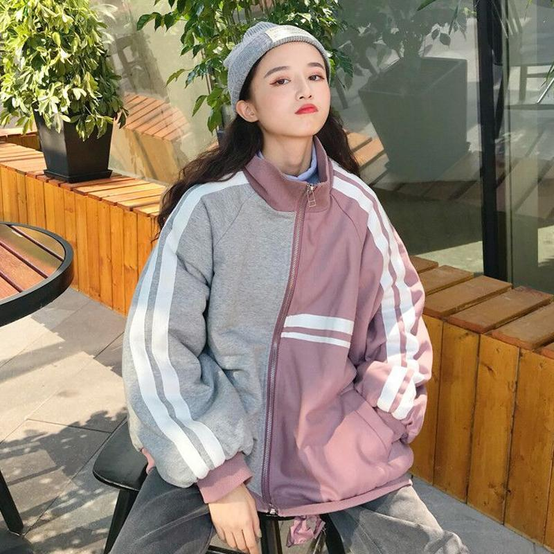 itGirl Shop SPORTY LINES GRAY PINK LOOSE JACKET
