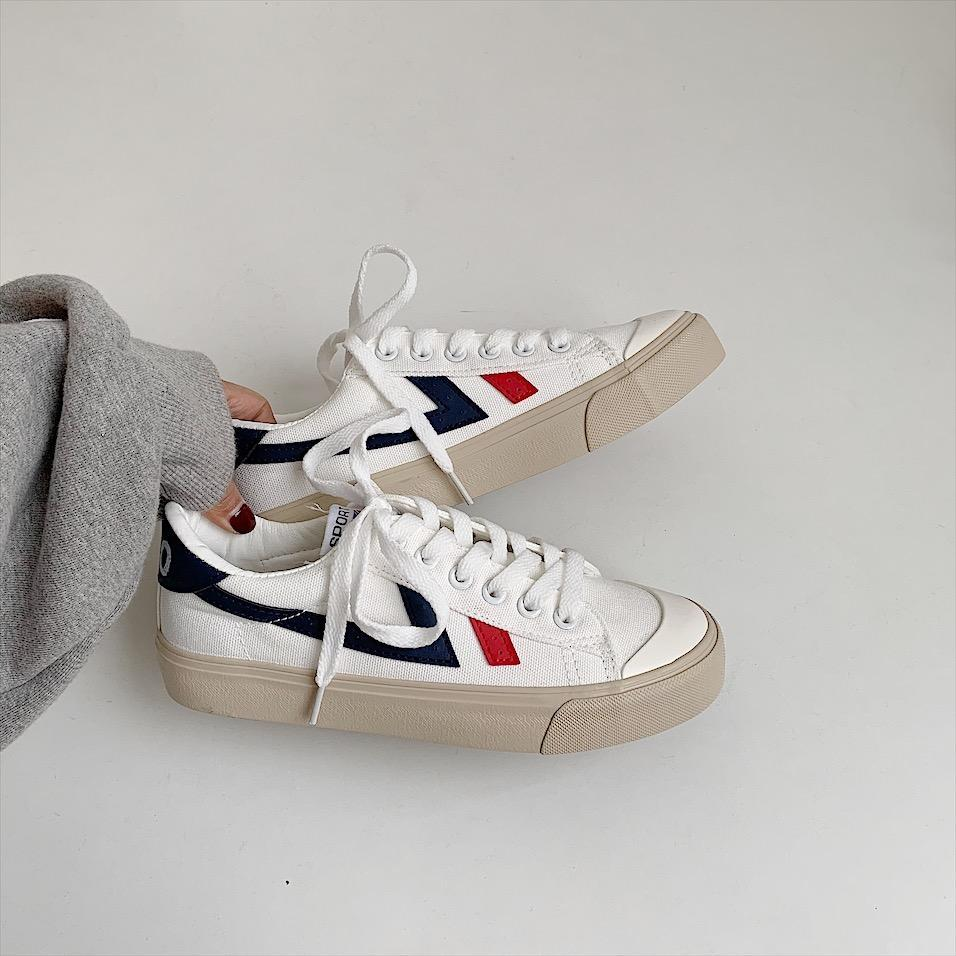 itGirl Shop SPORTY RETRO SIDE LINES CANVAS SNEAKERS