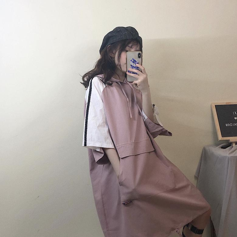 itGirl Shop SPORTY SLEEVE LINES HOODED LONG SHIRT DRESS