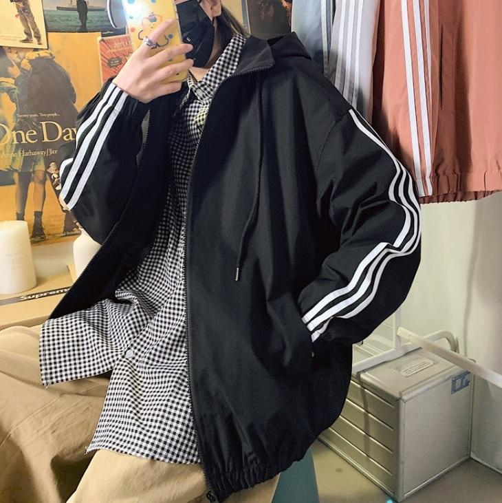 itGirl Shop SPORTY TRIPLE STRIPES HOODED LOOSE WINDBREAKER JACKET