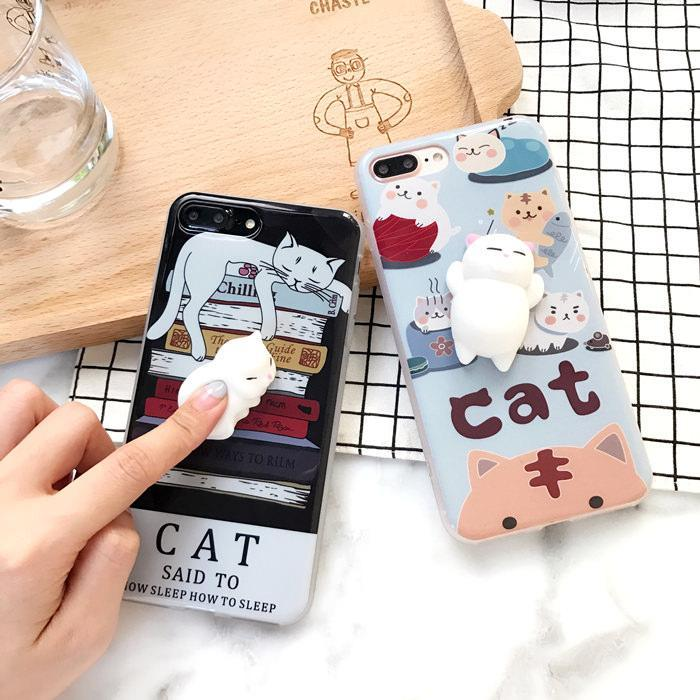 itGirl Shop SQUISHY RUBBER CHILLING CAT IPHONE COVER