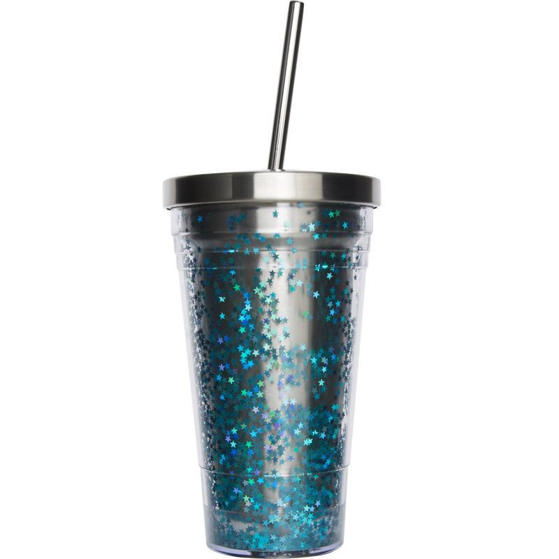 itGirl Shop STAINLESS STEEL STRAW COLORFUL SPARKLES LARGE GLASS