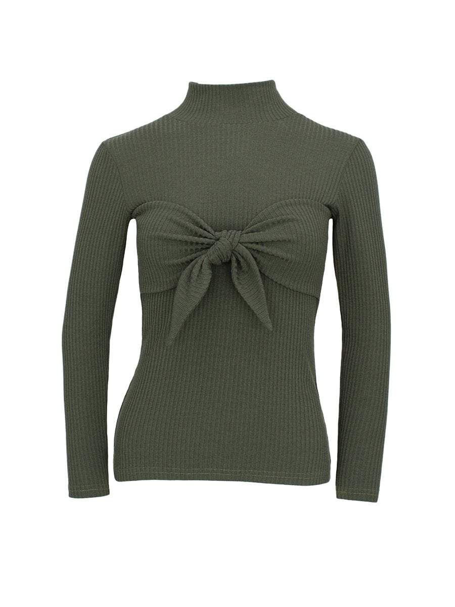itGirl Shop STAND COLLAR RIBBED KNOT BOW CHEST SLIM BLOUSE