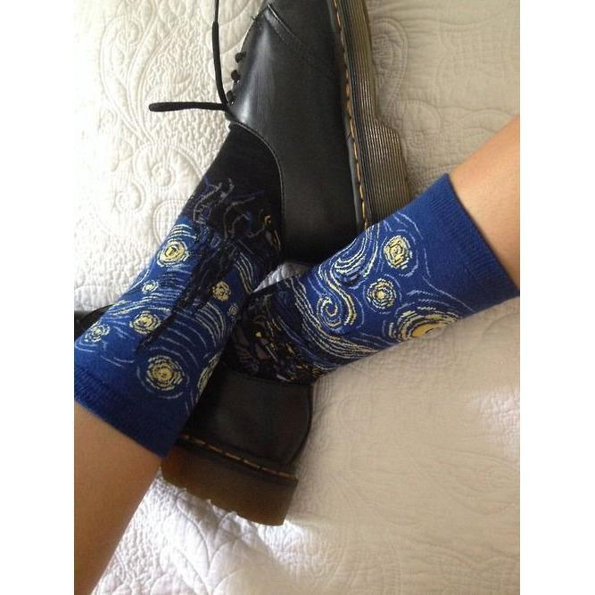 itGirl Shop STARRY NIGHT VAN GOGH SOCKS Aesthetic Apparel, Tumblr Clothes, Soft Grunge, Pastel goth, Harajuku fashion. Korean and Japan Style looks