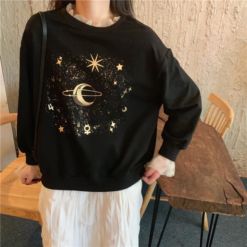 itGirl Shop STARS AND PLANET GOLDEN AESTHETIC PRINT BLACK SWEATSHIRT