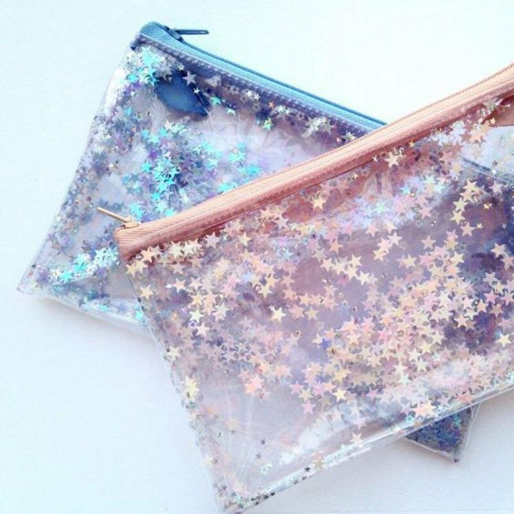 itGirl Shop STARS GLITTER TRANSPARENT COSMETIC STATIONARY PURSE BAG Aesthetic Apparel, Tumblr Clothes, Soft Grunge, Pastel goth, Harajuku fashion. Korean and Japan Style looks