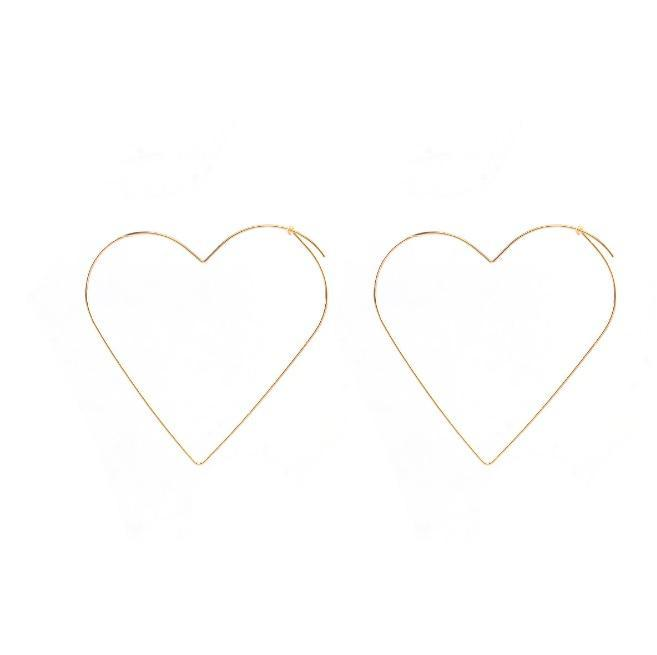 itGirl Shop STARS HEARTS THIN METALLIC FRAME SILVER GOLD EARRINGS