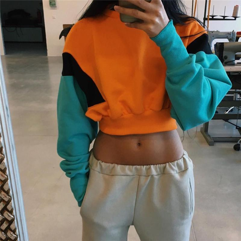 STITCHING COLOR ROUND NECK LOOSE CROP SWEATSHIRT