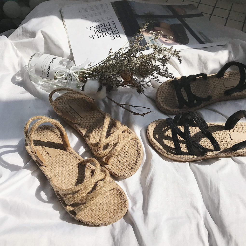 itGirl Shop STRAW BLACK BEIGE SUMMER GLADIATOR FLAT SANDALS