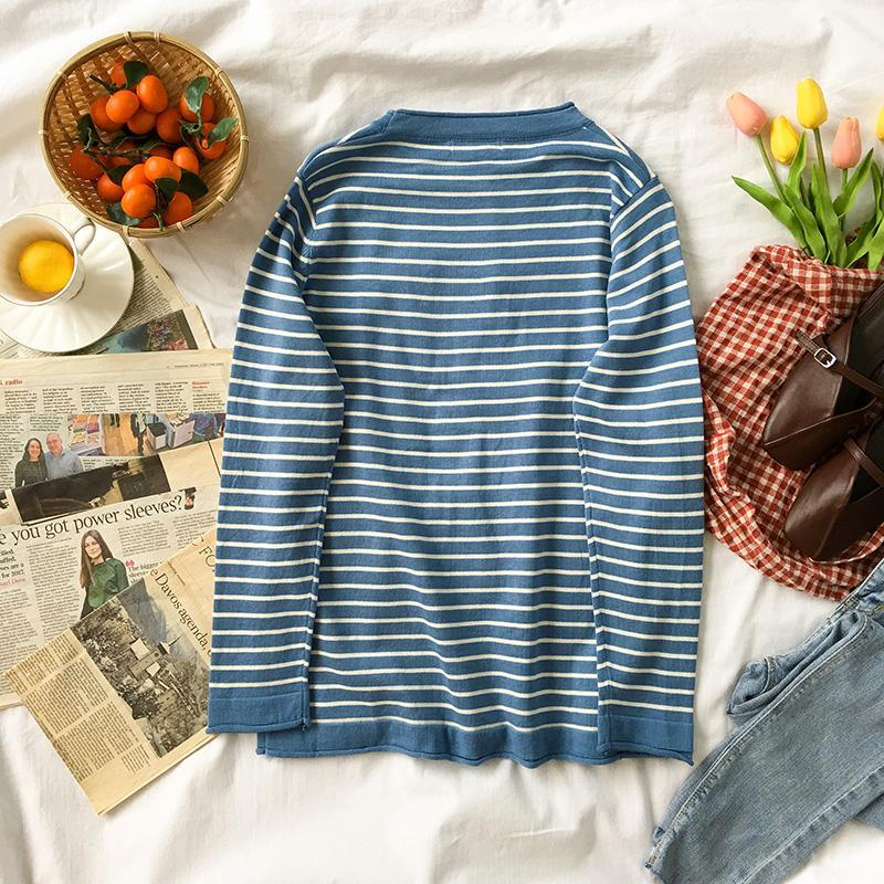 STRIPED BASIC COLORS SCHOOL ROUND NECK LONG SLEEVE