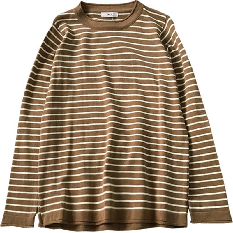 itGirl Shop STRIPED BASIC COLORS SCHOOL ROUND NECK LONG SLEEVE