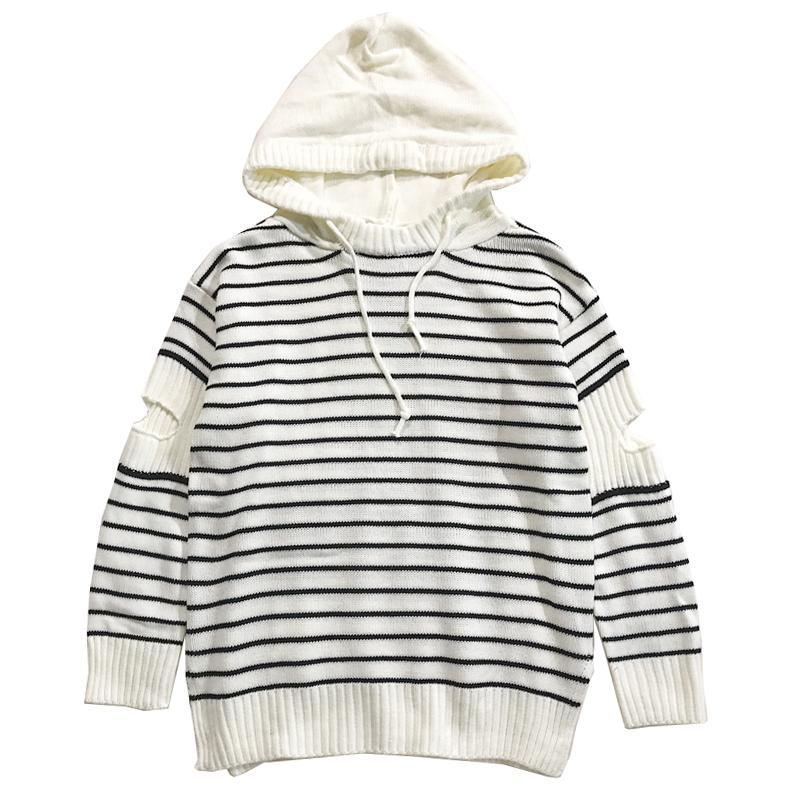 itGirl Shop STRIPED OPEN ELBOWS AESTHETIC LOOSE HOODED SWEATER