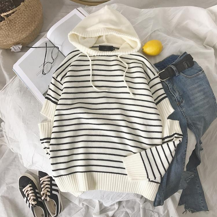 STRIPED OPEN ELBOWS AESTHETIC LOOSE HOODED SWEATER