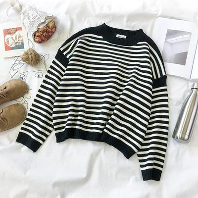 itGirl Shop STRIPED ROUND NECK LOOSE CASUAL WARM SWEATER