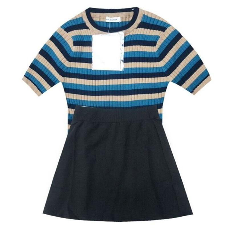 itGirl Shop STRIPED SHORT SLEEVE SLIM KNIT TOP + HIGH WAIST SKIRT SET