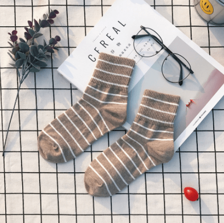 itGirl Shop STRIPES CUTE ANKLE VINTAGE COLOR SOCKS Aesthetic Apparel, Tumblr Clothes, Soft Grunge, Pastel goth, Harajuku fashion. Korean and Japan Style looks