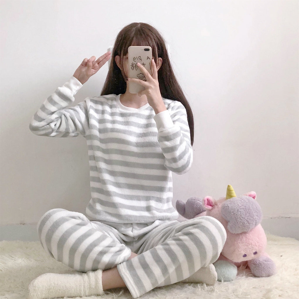 itGirl Shop STRIPES PLUSH WARM COZY PANTS LONG SLEEVE HOME PAJAMA