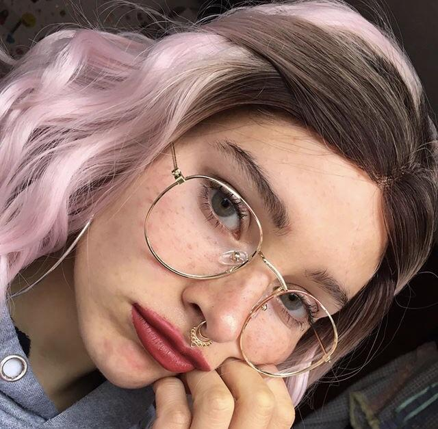 itGirl Shop STRONG METALLIC CLEAR ROUND GLASSES Aesthetic Apparel, Tumblr Clothes, Soft Grunge, Pastel goth, Harajuku fashion. Korean and Japan Style looks