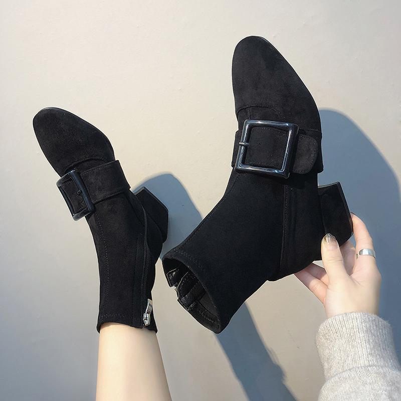 itGirl Shop SUEDE BLACK SQUARE HEEL BUCKLE BOOTS