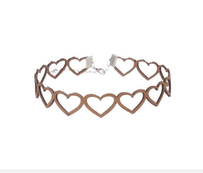 itGirl Shop SUEDE HEART HOLES SOFT VINTAGE CHOKER Aesthetic Apparel, Tumblr Clothes, Soft Grunge, Pastel goth, Harajuku fashion. Korean and Japan Style looks