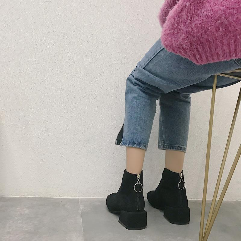 SUEDE MASSIVE HEEL BACK ZIPPER BOOTS