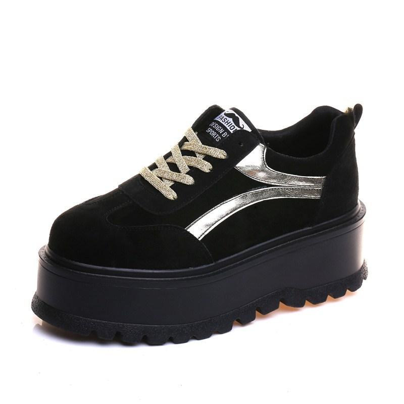 itGirl Shop SUEDE PLATFORM SPORTY SIDE LINES BLACK BROWN GREEN BOOTS