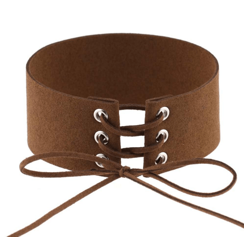 itGirl Shop SUEDE THICK LACEUP CHOKER