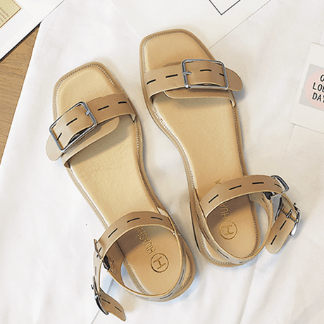 itGirl Shop SUMMER BUCKLE OPEN MINIMALISTIC BLACK BEIGE SANDALS