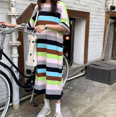 SUMMER COLORFUL STRIPES OVERSIZED LONG DRESS