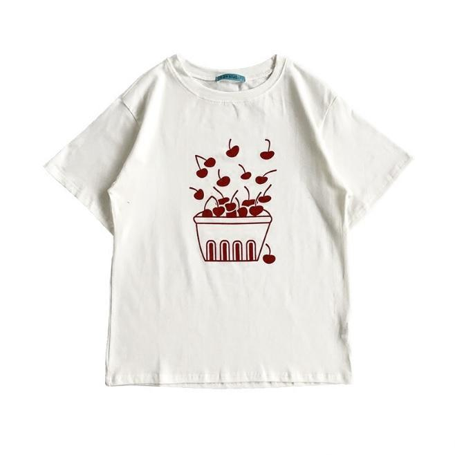 itGirl Shop SUMMER RED CHERRY BOX FRESH BERRIES COTTON WHITE T-SHIRT