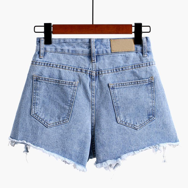 itGirl Shop SUMMER RIPPED FRONT EDGE BLUE DENIM JEAN SHORTS