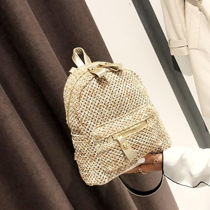 SUMMER SMALL WICKER ZIPPER BACKPACK