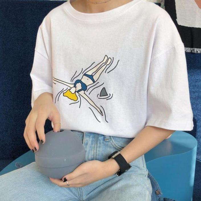 itGirl Shop SUMMER VIBES PRINTED OVERSIZED COTTON T-SHIRT